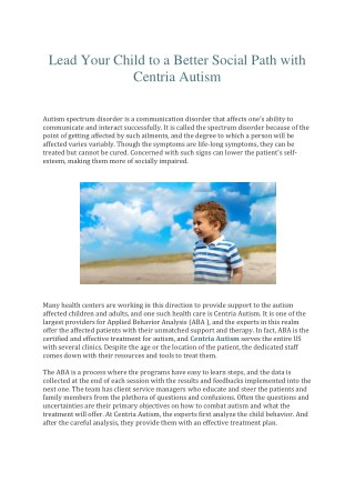 Lead Your Child to a Better Social Path with Centria Autism
