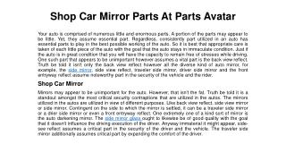 Find Top Brand Mirrors Parts At Parts Avatar