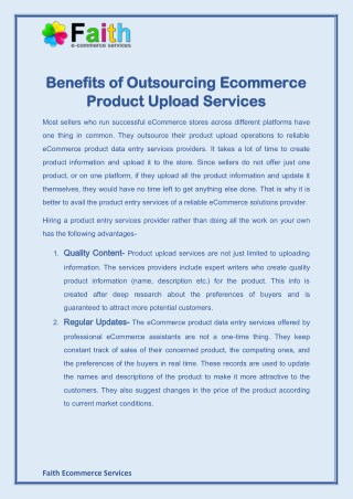 Benefits of Outsourcing Ecommerce Product Upload Services