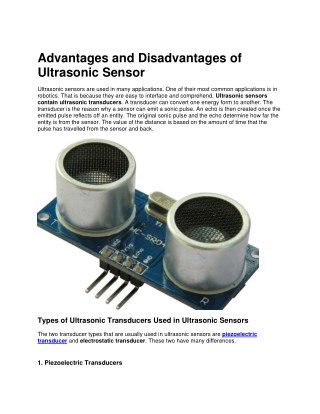 Ultrasonic Sensors: Advantages and Limitations