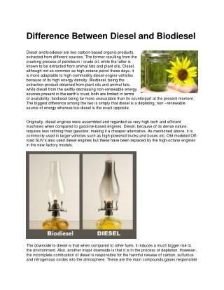 Difference Between Diesel and Biodiesel