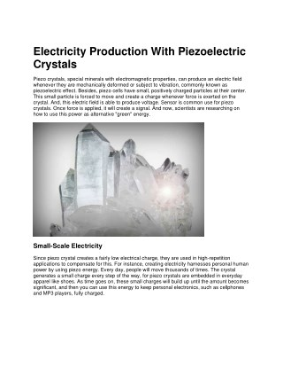 Electricity Production With Piezoelectric Crystals