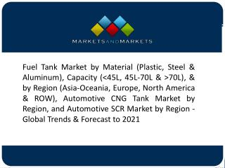 Rising Vehicle Production to Drive the Demand for Automotive Fuel Tank Market