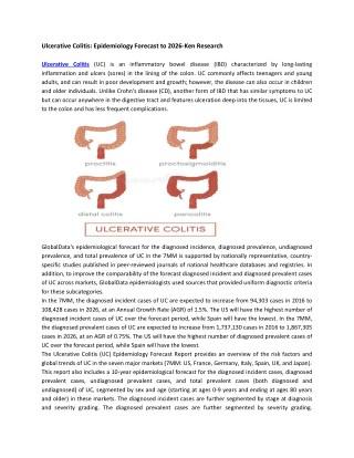 Ulcerative Colitis Market Competition, Market Size, Market Trends, Market Growth Analysis, Market Shares-Ken Research