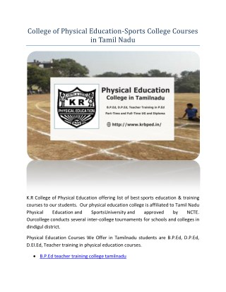 College of Physical Education-Sports College Courses in Tamil Nadu