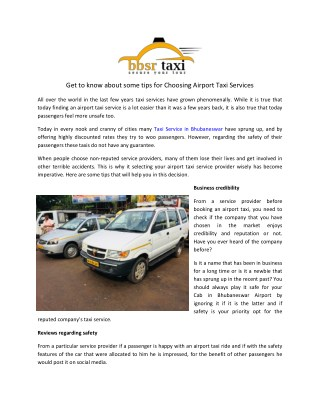 Get to know about some tips for Choosing Airport Taxi Services