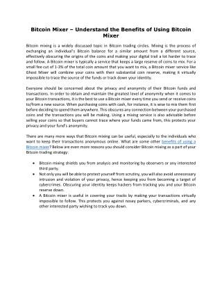 Bitcoin Mixer – Understand the Benefits of Using Bitcoin Mixer