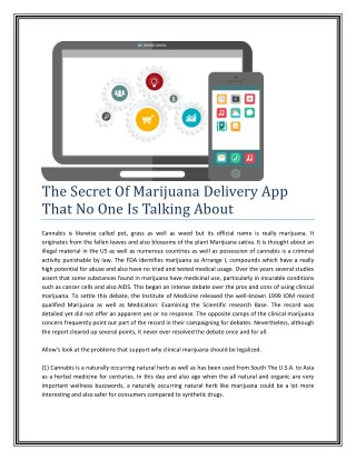 The Secret Of Marijuana Delivery App That No One Is Talking About