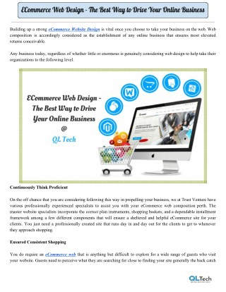 ECommerce Web Design - The Best Way to Drive Your Online Business