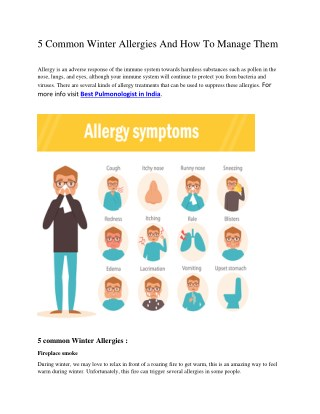 5 Common Winter Allergies And How To Manage Them