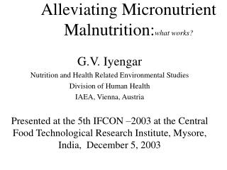 Alleviating Micronutrient Malnutrition: what works?