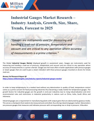 Industrial Gauges Market Analysis and Forecast to 2025 by Recent Trends, Development and Regional Growth Overview