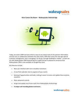 Here Comes the Boom – Wakeupsales Android App