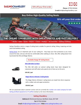 Buy Online High-Quality Sailing Boots