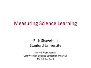 Measuring Science Learning