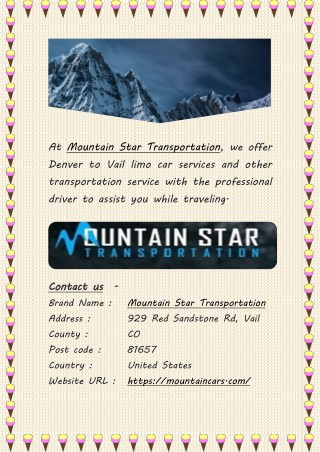 Denver to Vail Transportation, Limo and Car Service