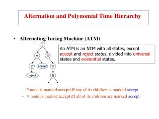 Alternating Turing Machine (ATM)  node is marked accept iff any of its children is marked  accept .