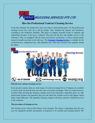 Hire the Professional Contract Cleaning Service