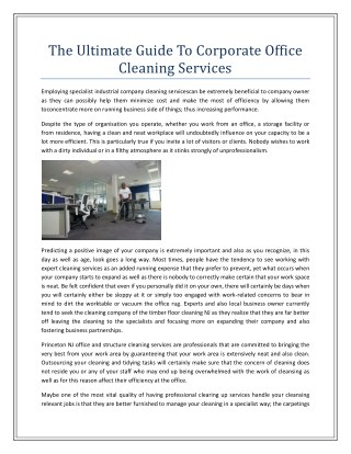 The Ultimate Guide To Corporate Office Cleaning Services