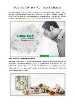 Do's and Don'ts of Currency Exchange
