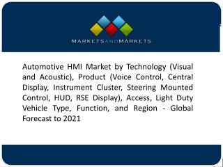 Standard HMI Segment to Be the Largest Contributor to the Automotive HMI Market