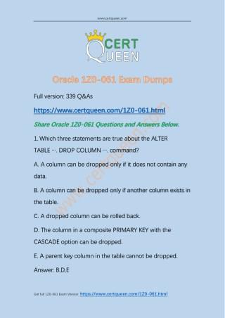2018 CertQueen Oracle 1Z0-061 Exam Dumps