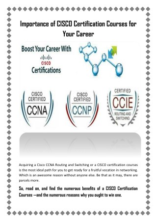 Importance of CISCO Certification Courses for Your Career