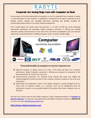 Corporate Are Saving Huge Cost with Computer on Rent