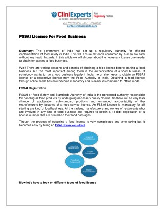 FSSAI License for food business