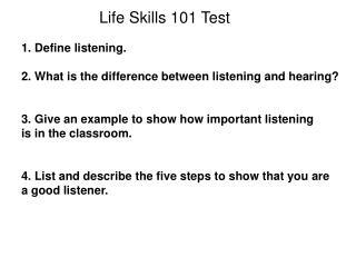 Life Skills 101 Test