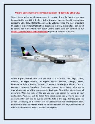 Volaris Customer Service Phone Number 1-800-525-9861 USA