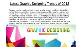 Latest Graphic Designing Trends of 2018