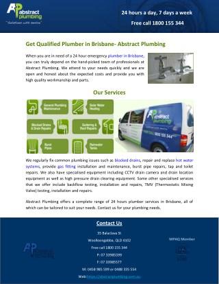Get Qualified Plumber in Brisbane- Abstract Plumbing