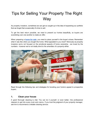 Tips for Selling Your Property The Right Way