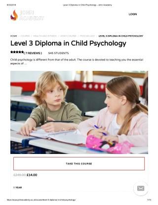 Level 3 Diploma in Child Psychology - John Academy