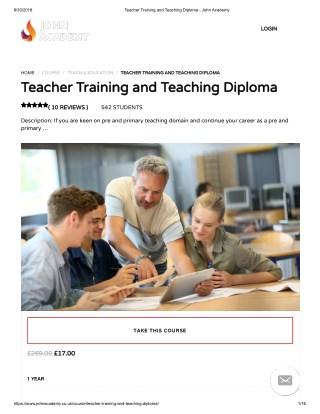 Teacher Training and Teaching Diploma - John Academy