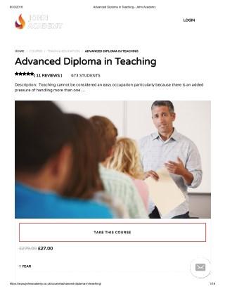 Advanced Diploma in Teaching - John Academy
