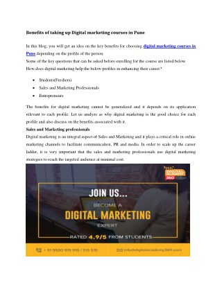 Benefits of taking up Digital marketing courses in Pune