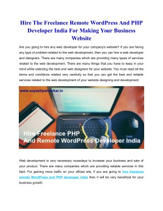 Hire The Freelance Remote WordPress And PHP Developer India For Making Your Business Website