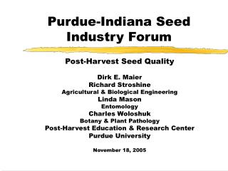Purdue-Indiana Seed Industry Forum