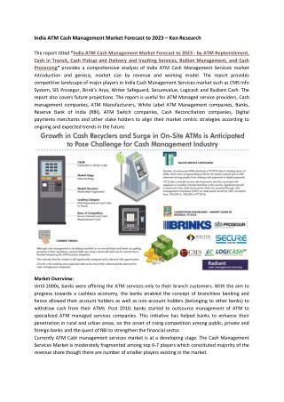 Revenue ATM Cash Management, ATM Security Market India-Ken Research