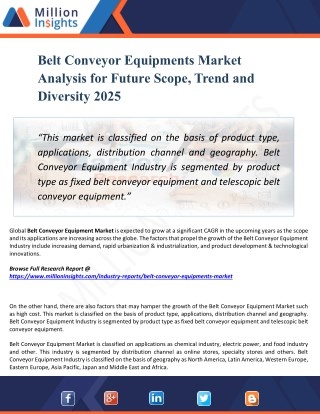 Belt Conveyor Equipments Market Size, Growth, Analysis, Applications, Opportunities, and Forecasts to 2025