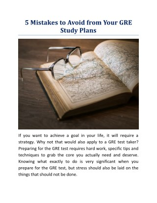 5 Mistakes to Avoid from Your GRE Study Plans
