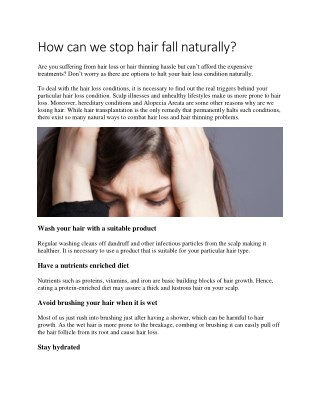 How can we stop hair fall naturally?