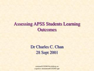 Assessing APSS Students Learning Outcomes