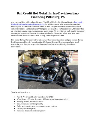 Bad Credit Harley Davidson Financing Pittsburgh PA | Hot Metal Harley Davidson