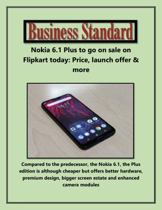 Nokia 6.1 Plus to Go on Sale on Flipkart Today Price Launch Offer & More