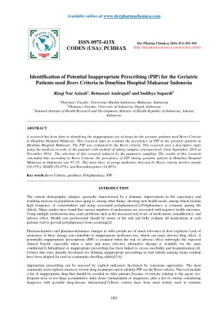 Identification of Potential Inappropriate Prescribing (PIP) for the Geriatric Patients used Beers Criteria in IbnuSina H