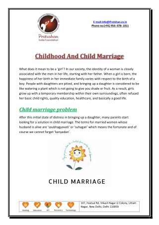 Childhood And Child Marriage