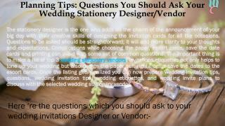 Planning Tips: Questions You Should Ask Your Wedding Stationery Designer/Vendor